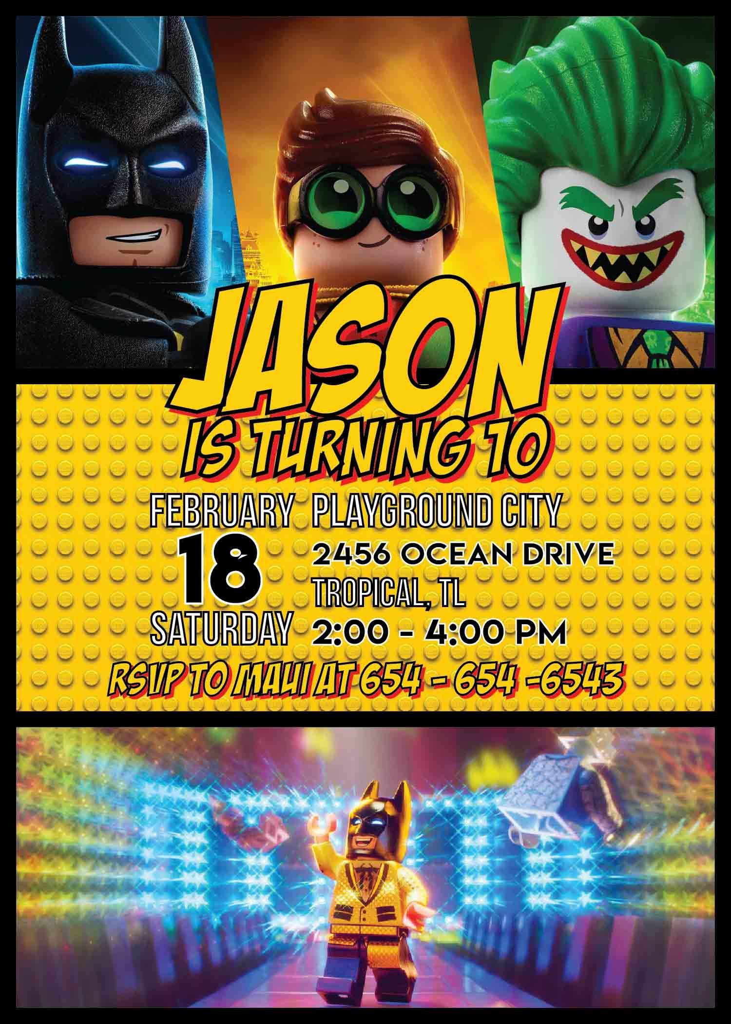 Lego Batman Party Invitation Template Cumpleaños Batman