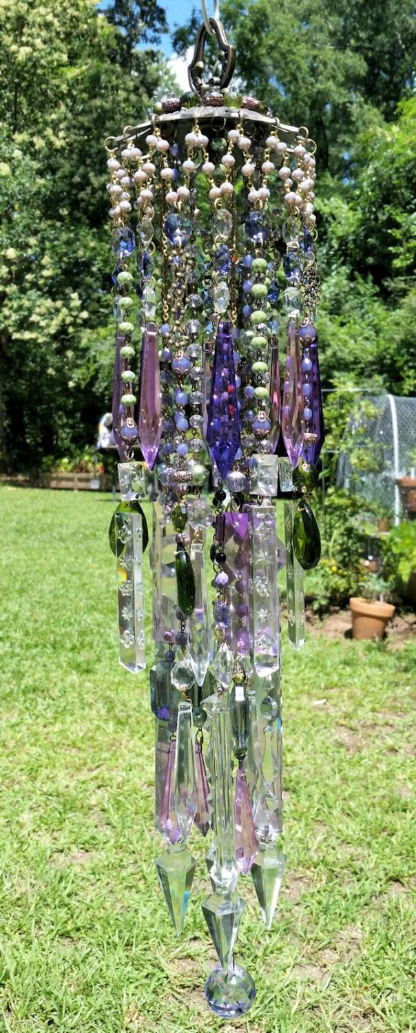 Orchid and Fern Antique Crystal Wind Chime, Vintage French Wind ...