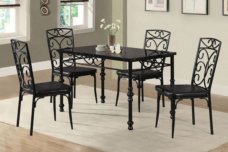Metal Frame Faux Marble Top Dining