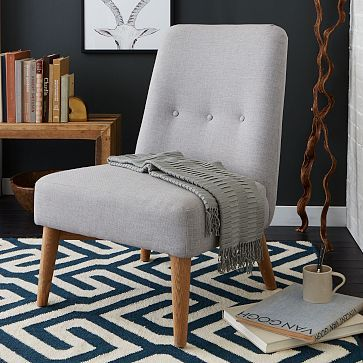 "Button Slipper Chair – Heathered Crosshatch #westelm 25.5""w x 30.5""d x 36.5""h. Oak wood legs in Almond-stained finish. Heathered crosshatch upholstery in Frost Gray.  $399"