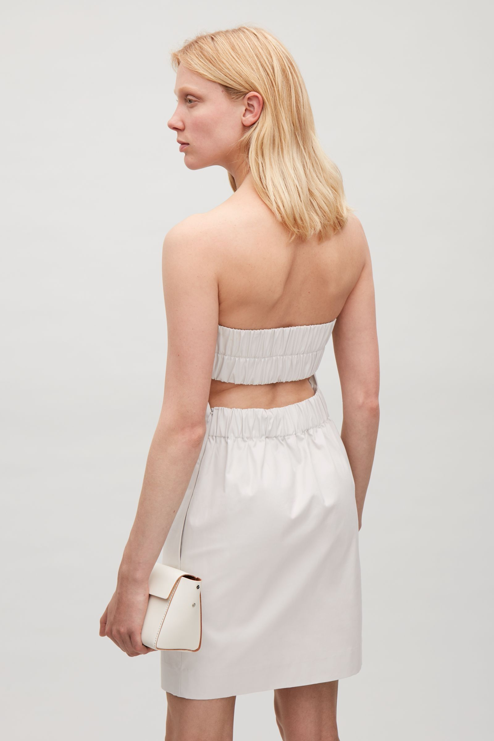 Fashion style Back Open strapless dress pictures for girls
