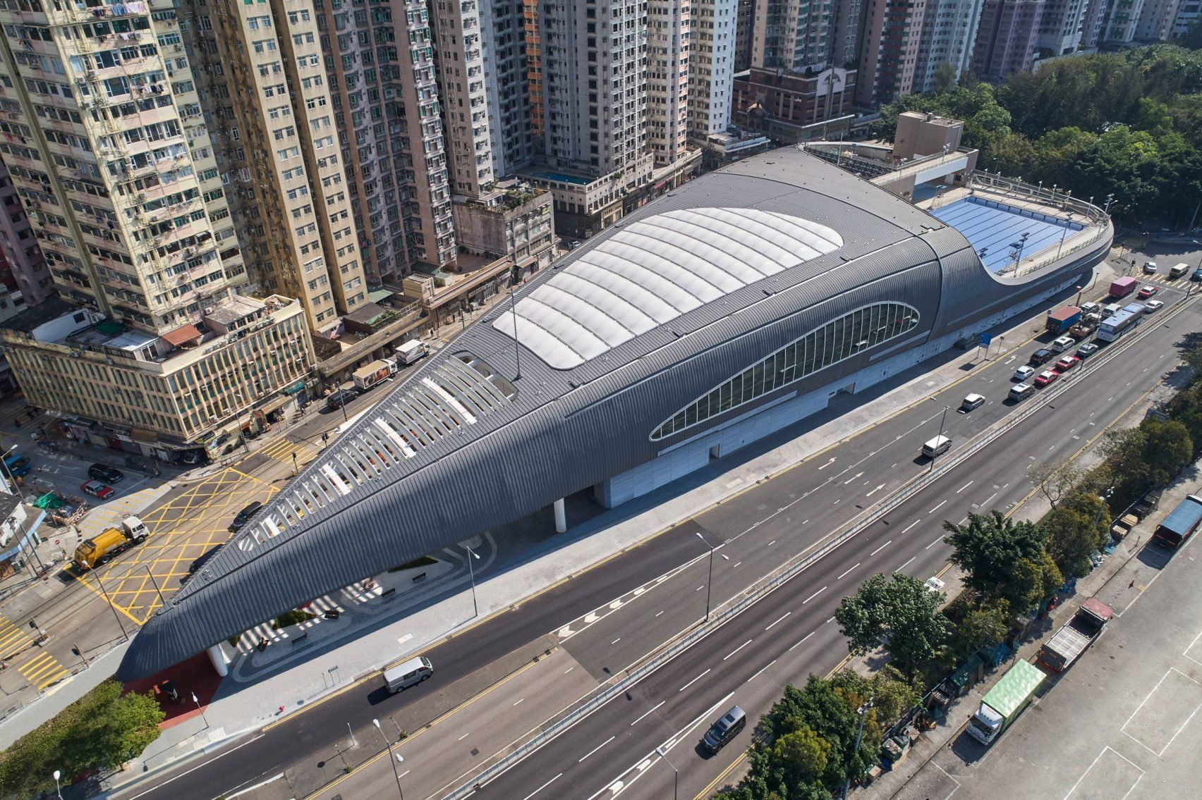 Farrells Completes Swimming Pool With Shell Like Roof On Hong Kong Waterfront Kennedy Town Modern Pools Building