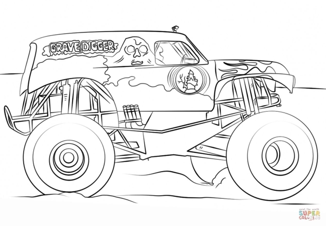 Monster Truck Grave Digger Coloring Pages Download Monster Gambar Mobil