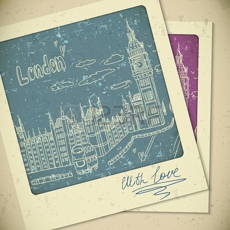 London doodles paisaje dibujo en estilo vintage Foto de archivo - 21691022