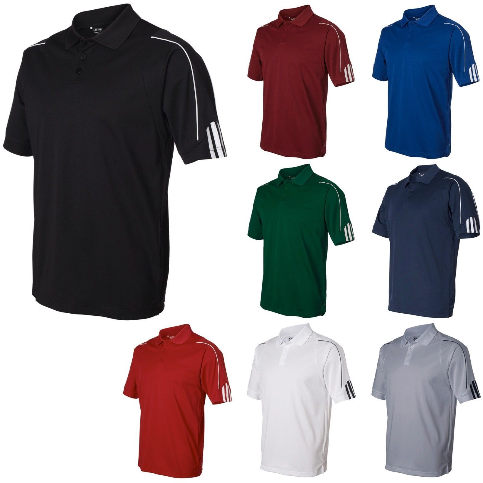 exquisite style release info on best choice Adidas Mens Golf Shirt S-3XL ClimaLite Three-Stripe Cuff ...