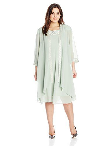 Le Bos Women\'s Plus-Size Duster Trapeze Jacket and Dress, Sage ...