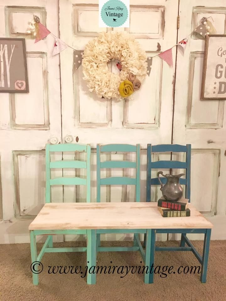 This Bench Was Made With Lumber And 3 Ladder Back Chairs. I Painted The  Chairs