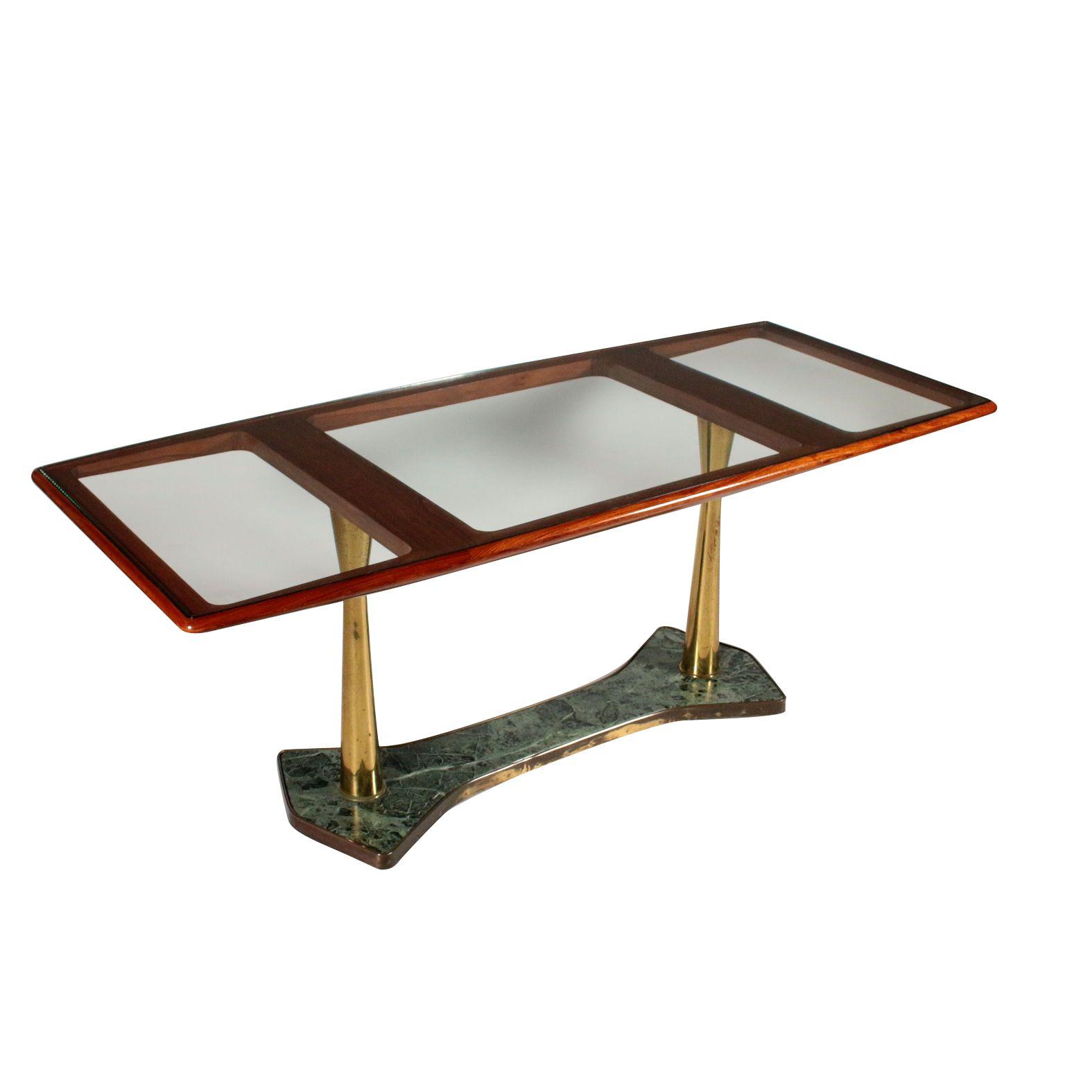 Vintage Et Deco Table Acajou Verre Transparent Laiton Marbre Italie Annees 50 Table Dessus En Bois D Acajou Et Verre Transpare Table Vintage Vintage Marbre