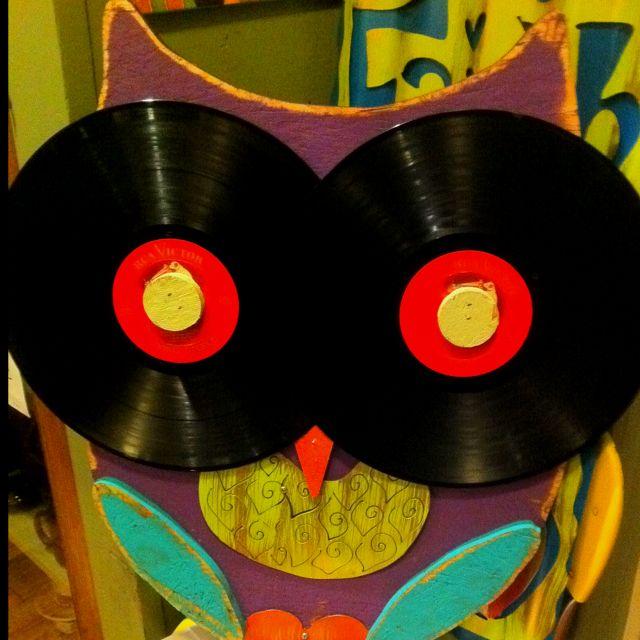 Owl Art Recycle Old Records Album Hoor Form Function