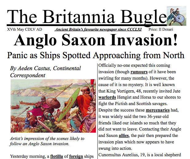 Anglo Saxon Invasion Newspaper Article An Example Imitation Text That Could Be Ideal If Your Topic Is The Anglo Saxons And Saxon Anglo Saxon Newspaper Article