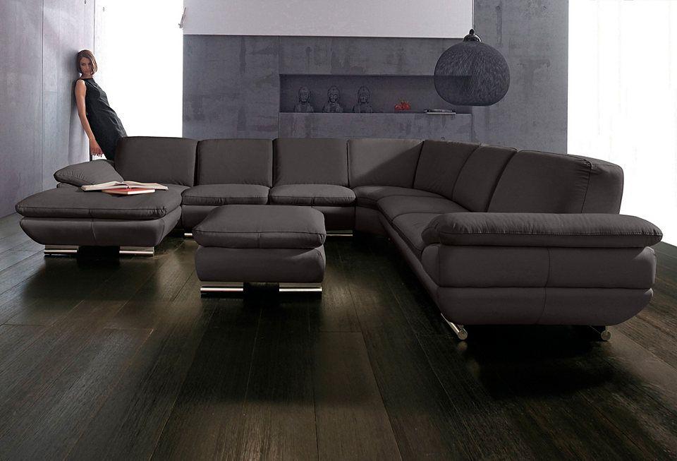 CALIA ITALIA Wohnlandschaft aus Leder »EST 169«, Recamiere wahlweise - wohnzimmer sofa braun