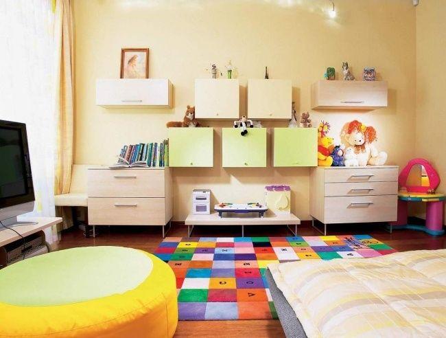 Wohnideen Babyzimmer ~ Bunter teppich quadrat muster wohnideen kinderzimmer universal