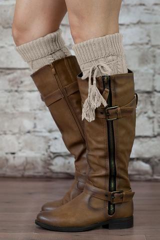 Alpine Boot Socks Tan Beige Thigh High Tie Top Tassels Thick Boho
