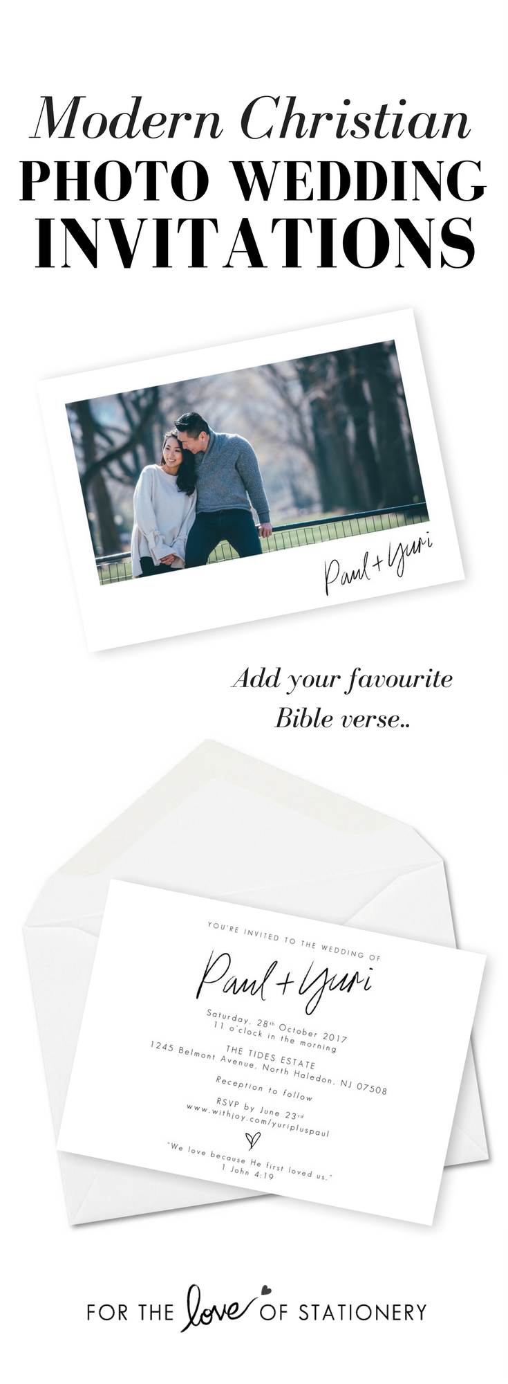 Modern Christian Wedding Invitation with Photo Wedding