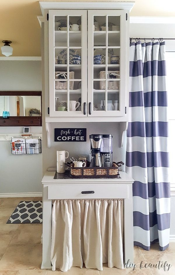 An outdated oak cabinet gets a fresh, farmhouse update ...