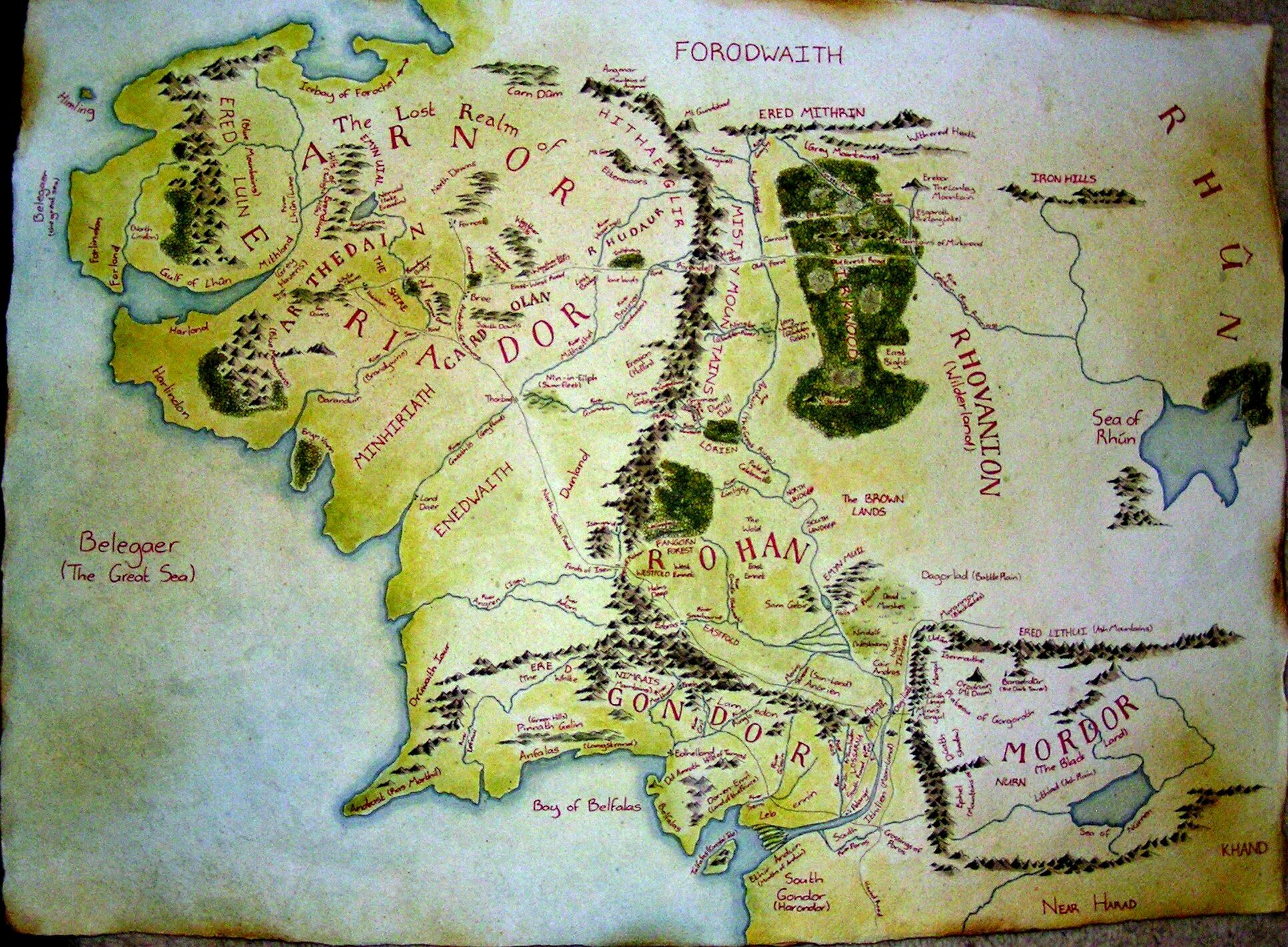 maps of middle earth first age  Map of Middle Earth by