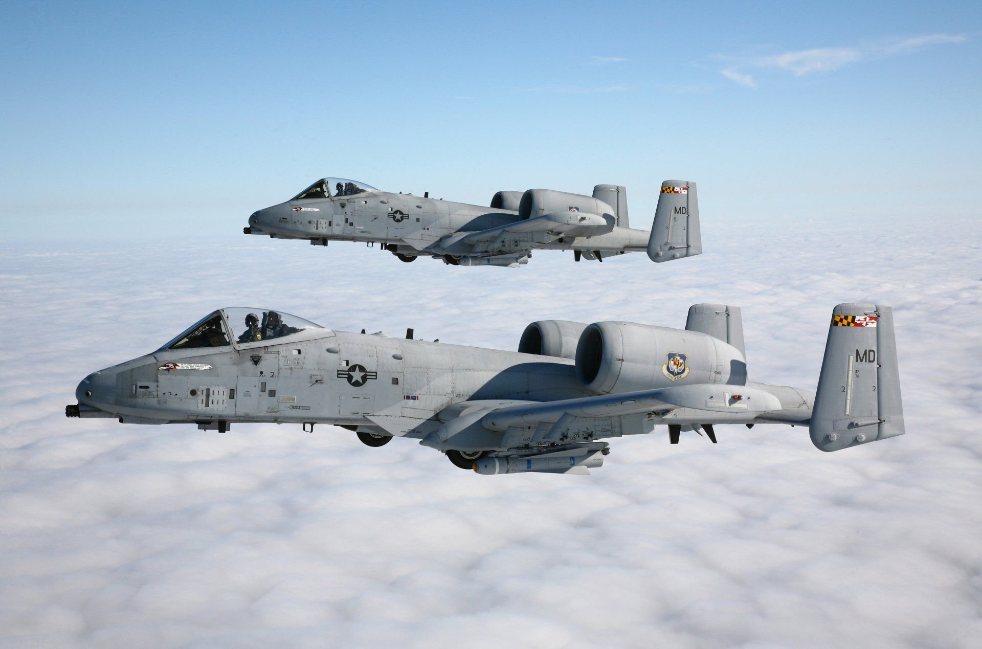 A 10 Thunderbolt Ii Stormtroopers The Pair Sky Clouds Hd Wallpaper For Computer Or Android Device Military Wallpaper Aircraft Fighter Jets