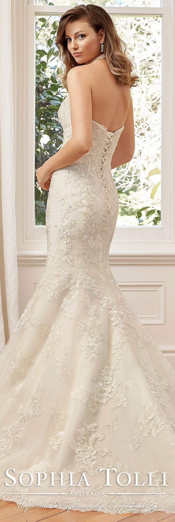 f69cecb26140 Halter V-Neckline Soft Tulle   Organza   Lace Dress- Y11942 Marnie ...