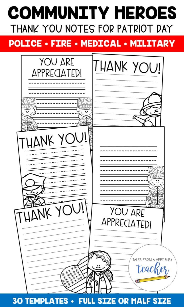 Uncategorized Patriot Day Worksheets community helper thank you notes patriot day write day