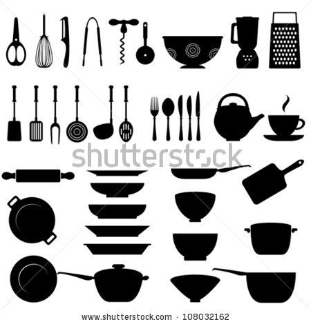 Kitchen Utensils Silhouette Vector Free kitchen utensils and tool icon set stock vector 108032162