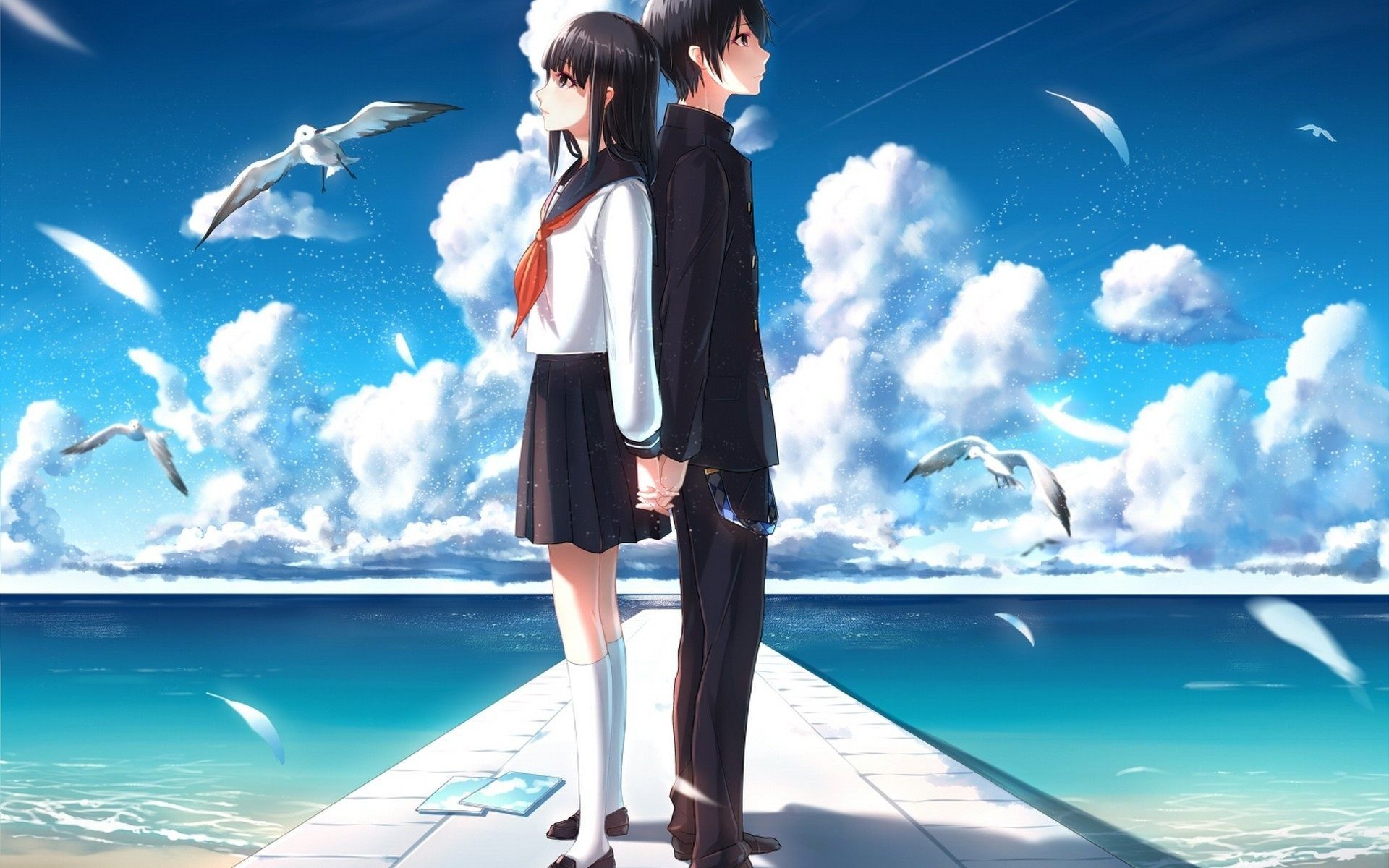 Anime Boy And Girl Love Wallpaper Hd For Desktop And Mobile Anime Romance Anime Wallpaper Anime Wallpaper Download