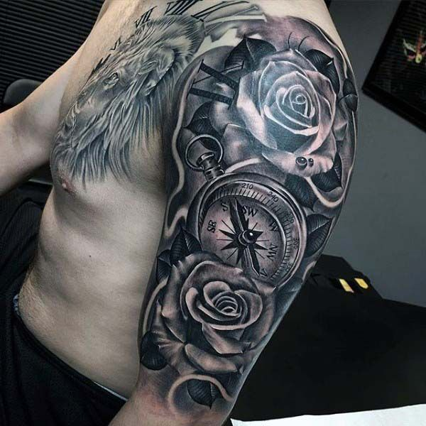 Nice Male Compass And Rose Half Sleeve Tattoos Half Sleeve Tattoos For Guys Sleeve Tattoos Rose Tattoo Sleeve