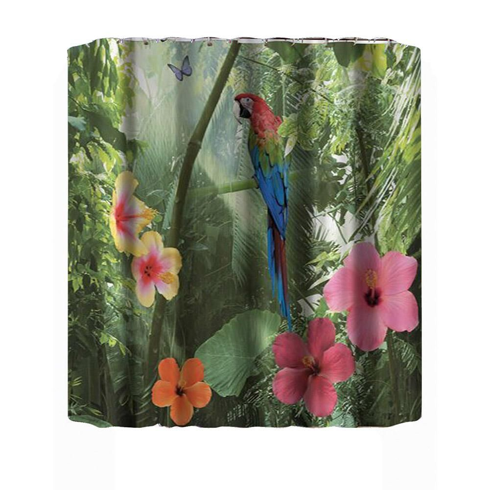3d Waterproof Polyester Shower Curtain Parrot Nature Pattern With