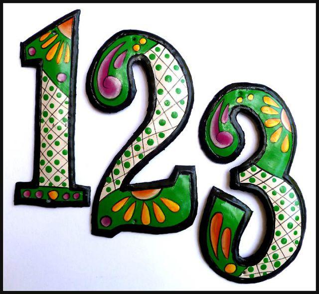 House Numbers Metal Address Numbers Hand Painted Metal 7 1