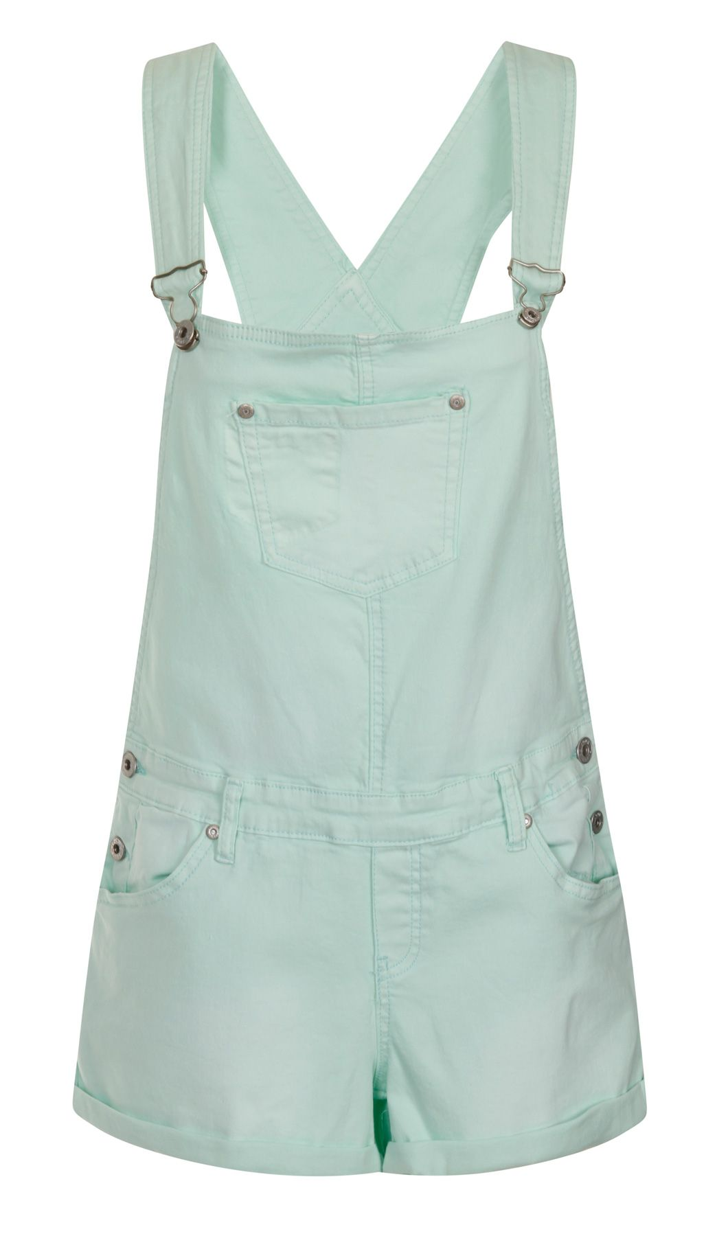 6735ec2074 Mint Green Dungaree Shorts in slightly stretchy soft denim with distressing  detail. £24.99 #dungarees #dungareeshorts #overalls