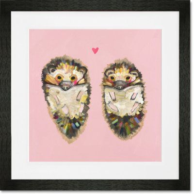 "GreenBox Art 'Hedgehog Love' Framed Painting Print on Paper Frame Color: Black, Size: 20"" H x 20"" W x 1.25"" D"