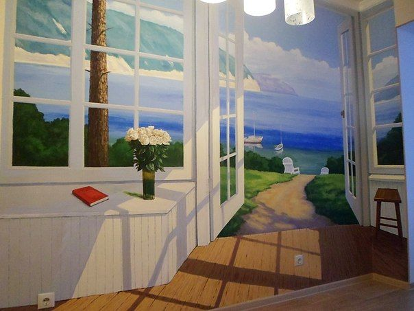 3D kitchen wall mural of open doors in a summer cottage at a seaside