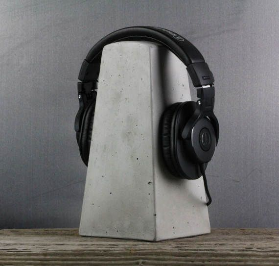 Concrete Headphone Stand by roughfusion on Etsy
