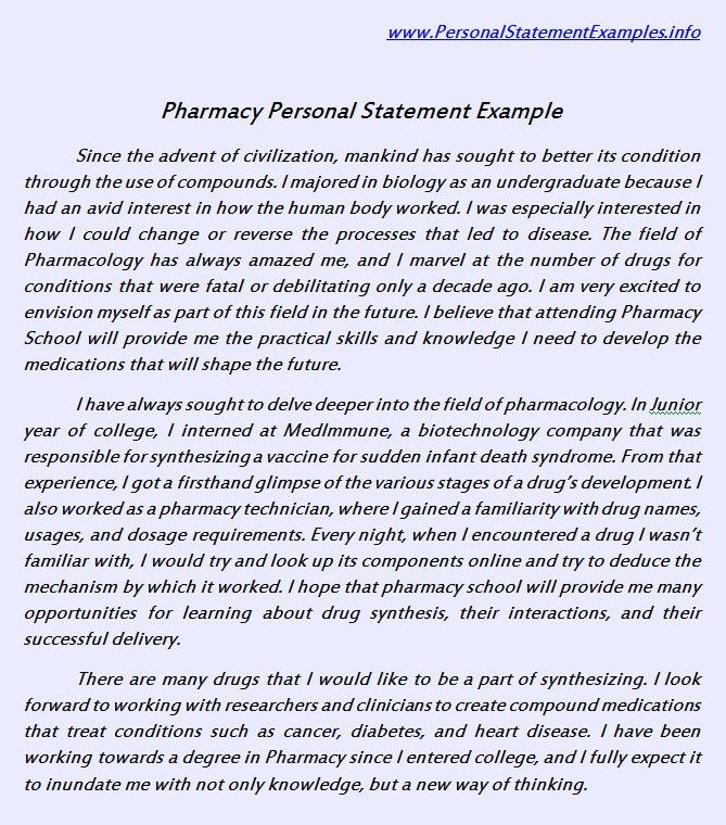 useful pharmacy personal statement example httpwwwpersonalstatementsamplenetpharmacy