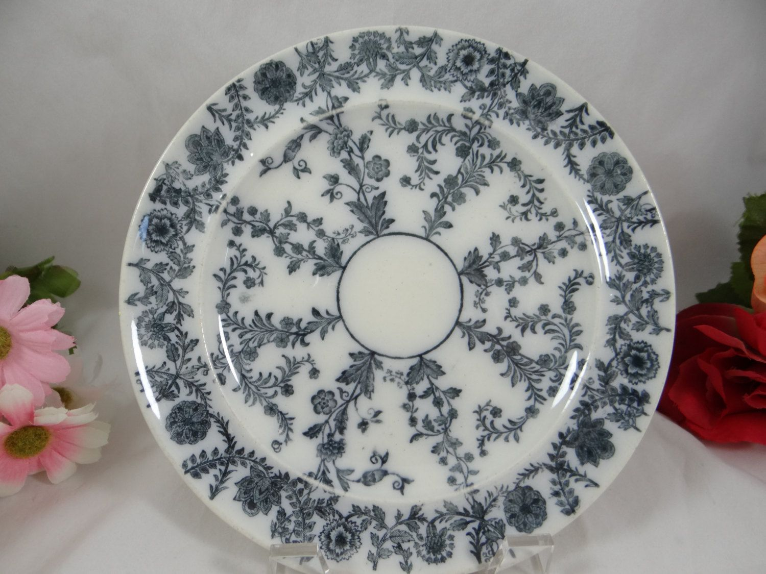 1850-67 Antique Copeland Spode English Bone China u2013  Delphi Grayu0027 plate & 1850-67 Antique Copeland Spode English Bone China u2013