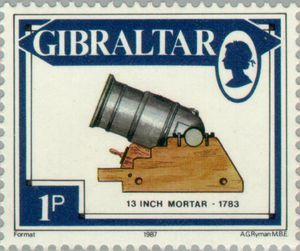 13 inch Mortar 1783. Artillery Pieces,1 p - Penny stamp from Gibraltar 1987