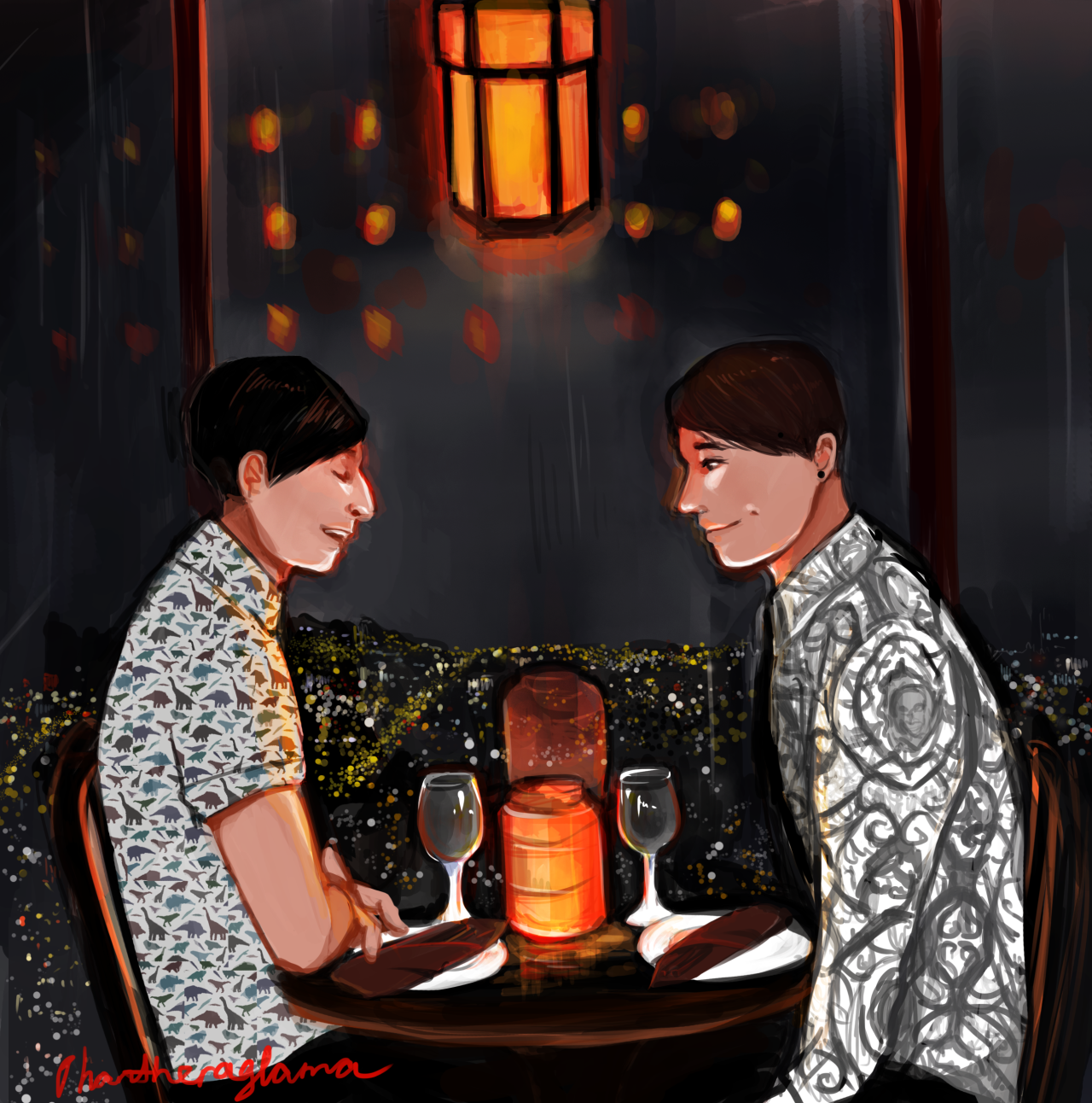 table for two by phantheraglama THIS IS THE BEST ARTIST IN THIS FANDOM I NEED CPR<<< LITERALLY ME