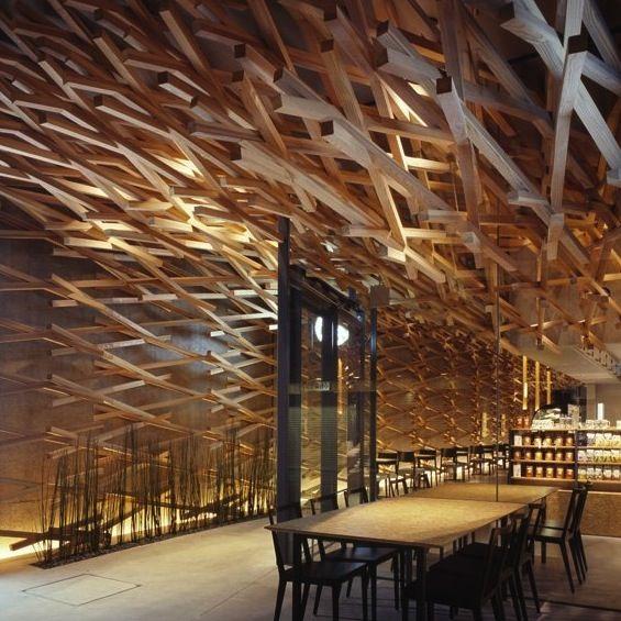Kengo Kuma : Starbucks Coffee   Design de plafond, Plafond et Culture
