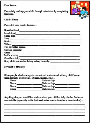 Parent Survey Printable For Child Care Childcare Forms
