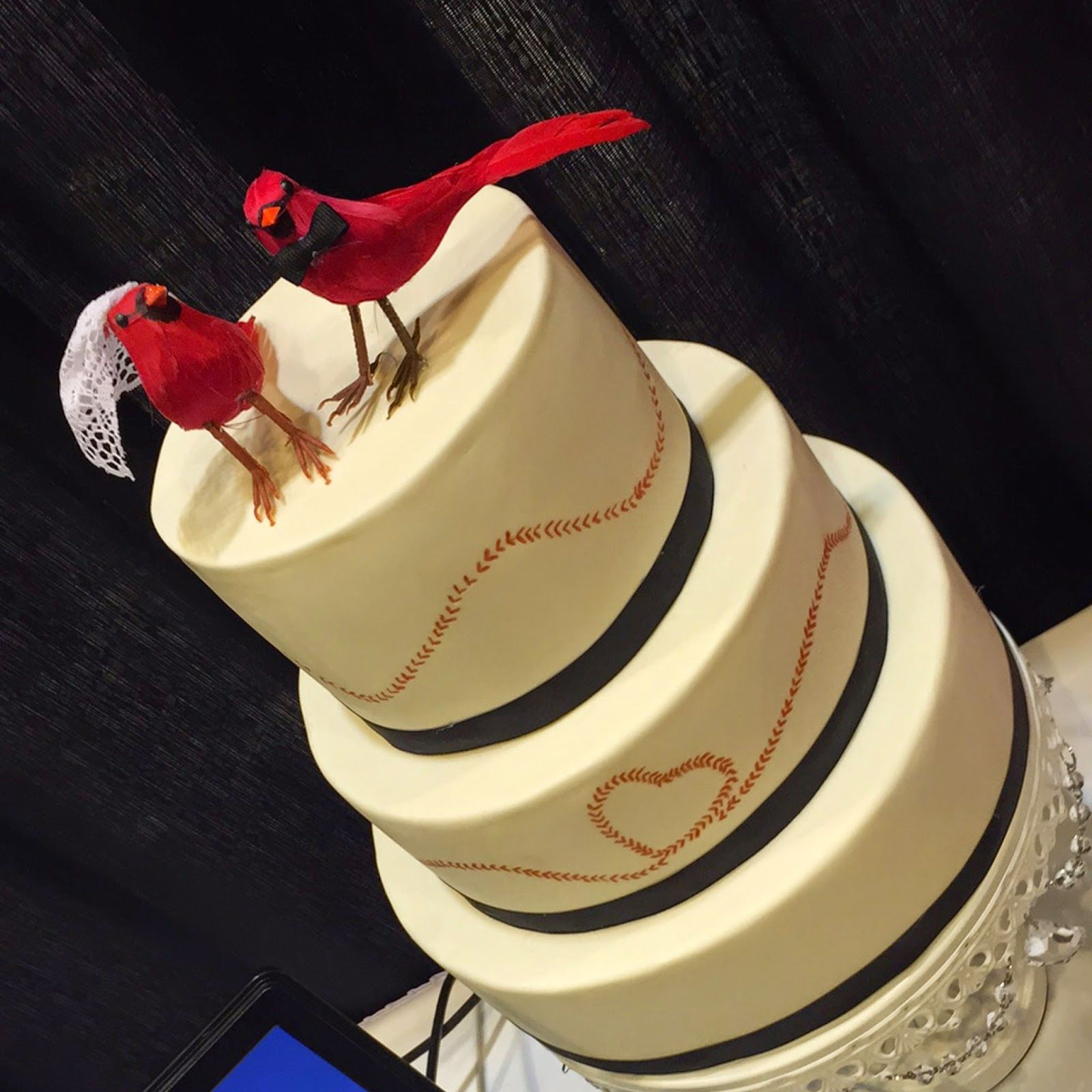 St. Louis Cardinal Themed Wedding Cake By Hock Cakes