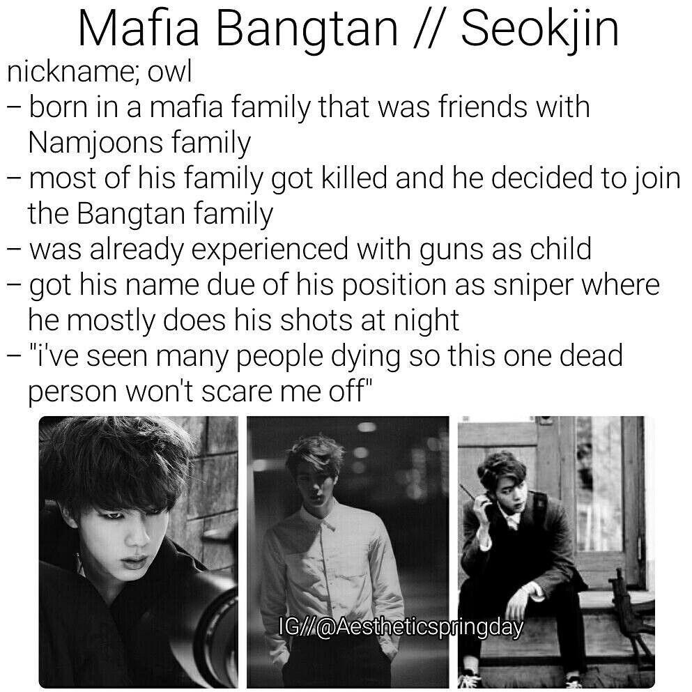 BTS Kim SeokJin Imagine Mafia Bangtan   BTS imagines