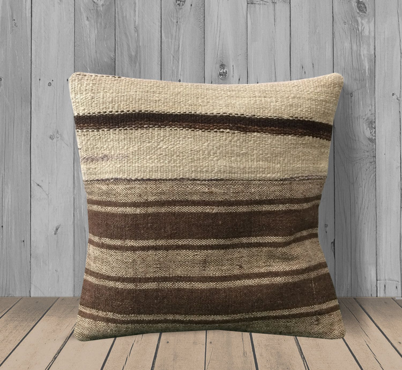 Cream White Brown Tribal Throw Pillows Covers 16x16 Stripe Sham Cover Square Kilim Pillow Case Natural Decor Pillow For Sofa Cushion Rug Pillow Covers Kilim Pillows Pillows Cushions On Sofa