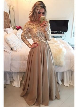 Long Sleeve Champagne Gold Prom Dresses 2017 Cheap Appliques Sheer Back Evening  Gown bcc0138049ab
