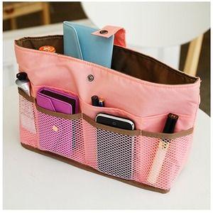 Purse organizer insert multi-pocket for handbag black Large 25x10 cm