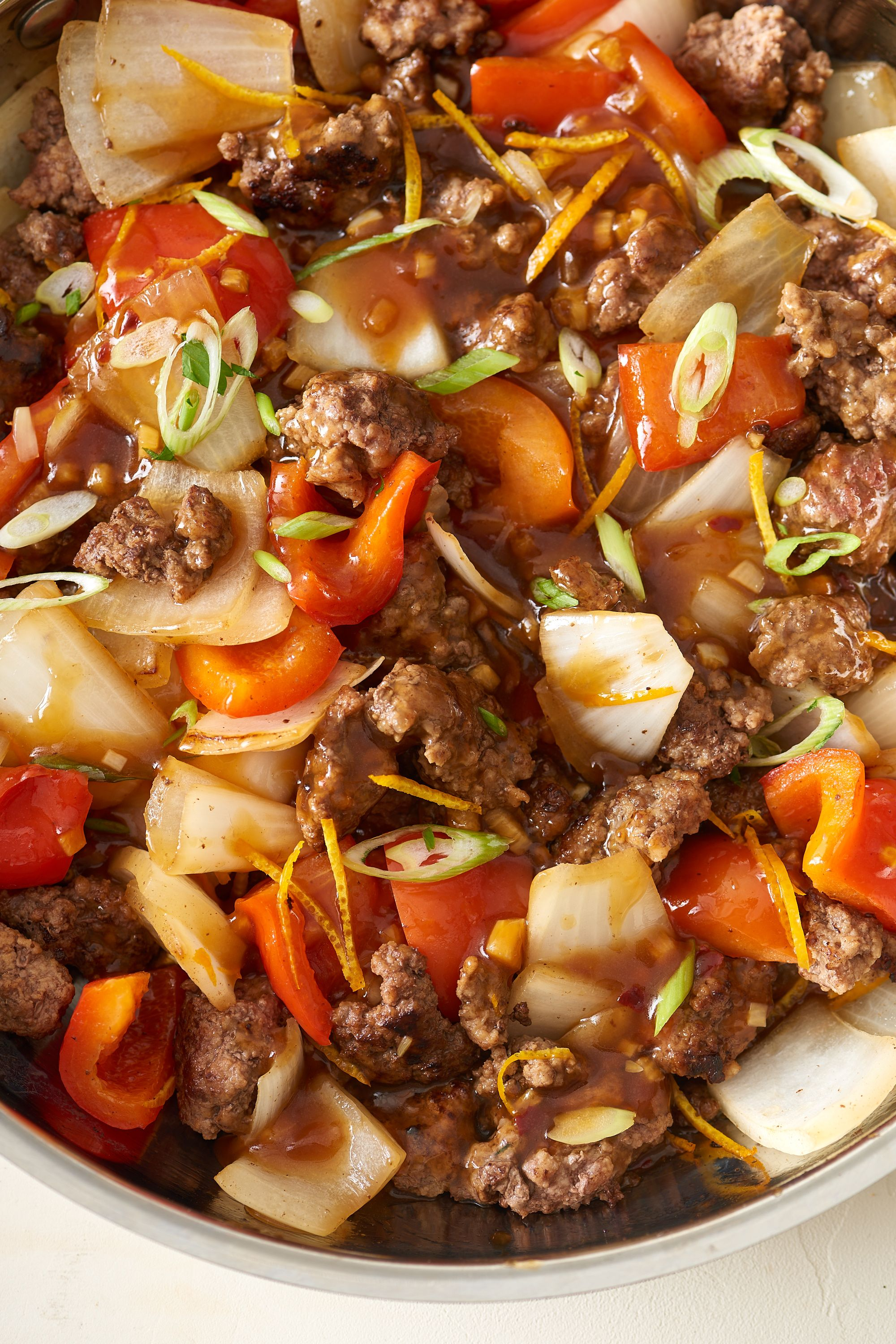 Recipe Crispy Orange Ground Beef Veggies Recipe Orange Beef Ground Beef Beef Skillet Recipe