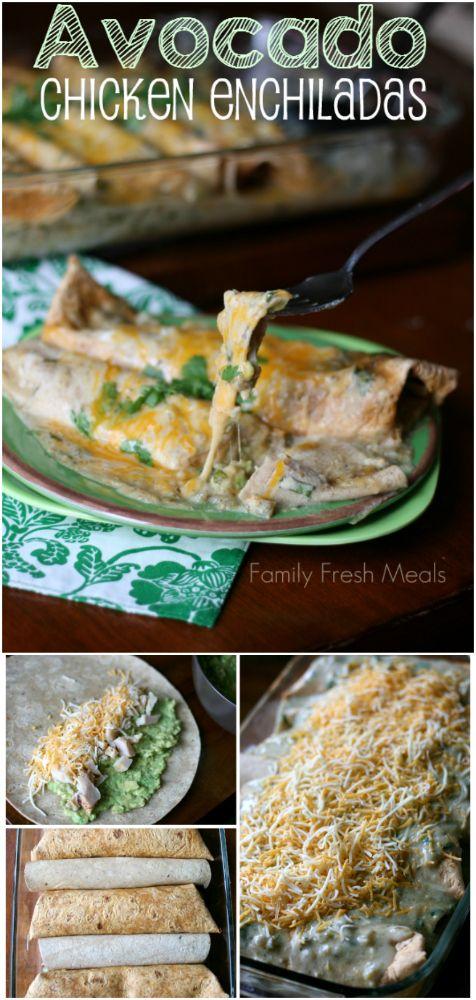Avocado Chicken Enchiladas - Family Fresh Meals