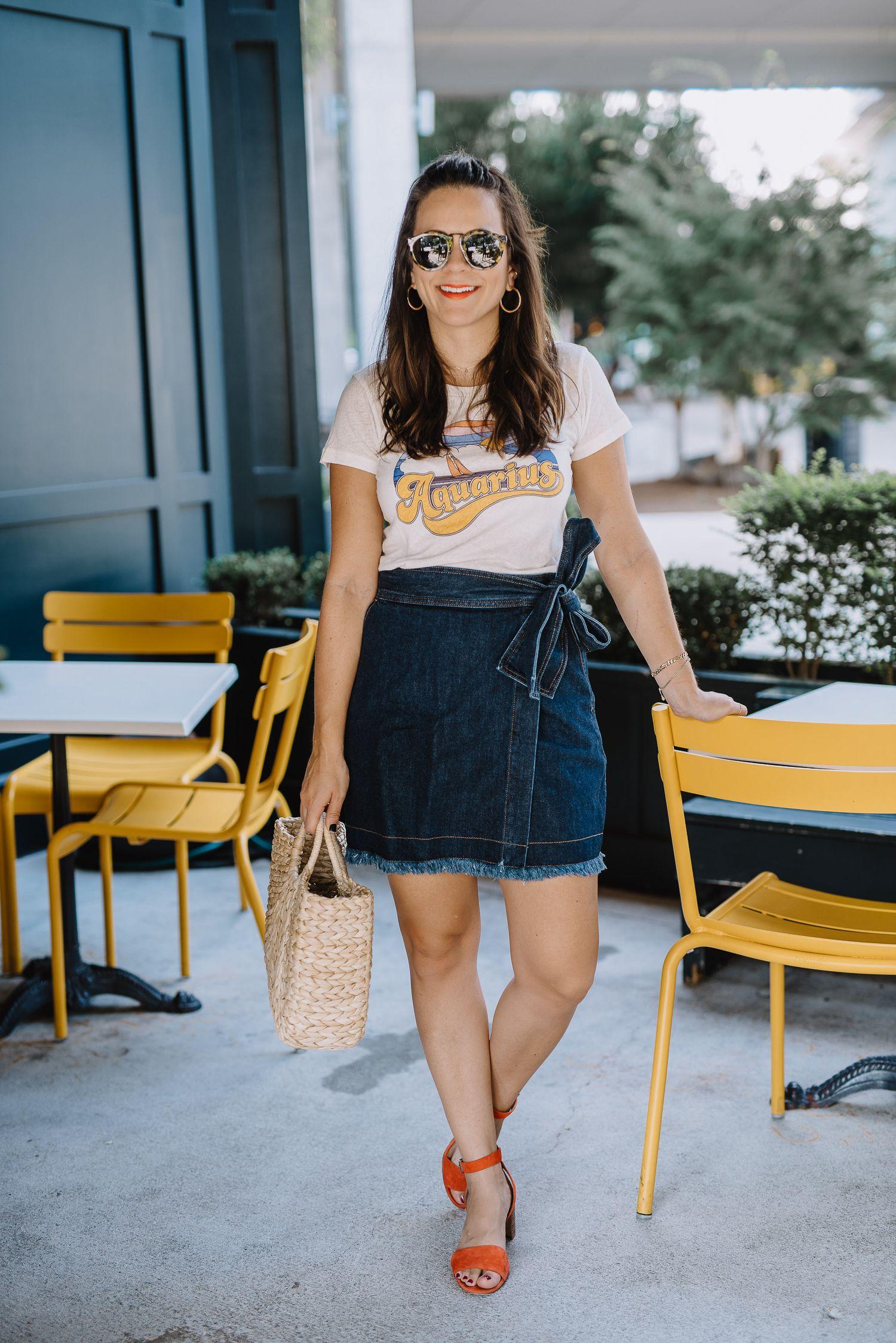 dd8a4f25a madewell x karen walker denim skirt, wrap denim skirt, casual summer outfit  - My Style Vita