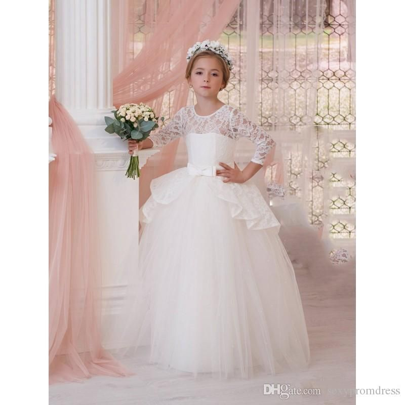 cca5afb93df0 White Ball Gown Mini Wedding Dresses 2017 Lace Long Sleeve Ruched Peplum Flower  Girl Dresses Flower Length Children Prom Party Gowns