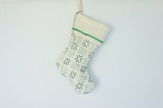 Green Mudcloth Christmas Stocking with Name tag by ONEAFFIRMATION