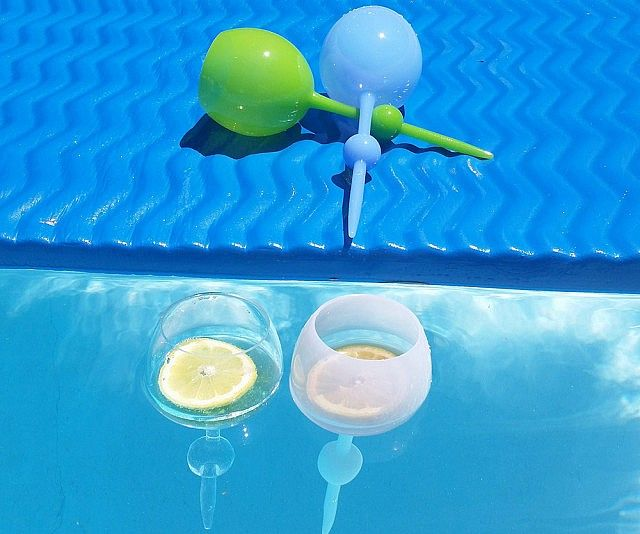 Floating Self Standing Wine Glass Outdoor Drinkware Pool Accessories Cool Items