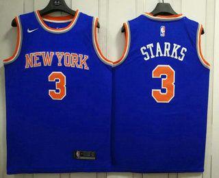 3b369f5a0a6 Men's New York Knicks #3 John Starks New Blue 2017-2018 Nike Swingman  Stitched